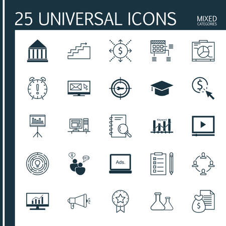 optimisation: Set Of 25 Universal Icons On Presentation, Keyword Optimisation, SEO Brainstorm And More Topics. Vector Icon Set Including Analysis, Media Campaign, Present Badge And Other Icons.
