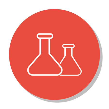 Vector Illustration Of Education Symbol On Flask Icon. Premium Quality Isolated Chemical Icon Element In Trendy Flat Style. Illustration
