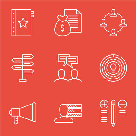 personal decisions: Set Of Project Management Icons On Warranty, Innovation, Collaboration And More. Includes Report, Announcement, Collaboration And Other Vector Icons. Illustration