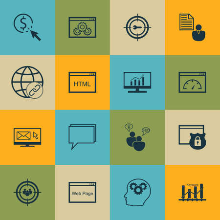 Set Of SEO, Marketing And Advertising Icons On Coding, Newsletter, Keyword Marketing And More. Includes Website Performance, SEO Brainstorm, Market Research And Other Vector Icons. Illustration
