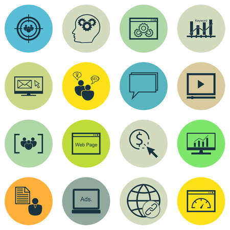 optimisation: Set Of SEO, Marketing And Advertising Icons On PPC, Report, SEO Brainstorm And More. Includes Keyword Optimisation, Connectivity, Newsletter And Other Vector Icons.