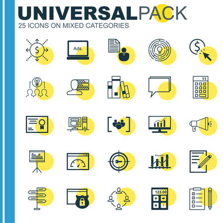 keyword research: Set Of 25 Universal Icons On Keyword Optimisation, Personal Skills, Paper And More Topics. Vector Icon Set Including Market Research, Investment, Collaborative Solution And Other Icons.