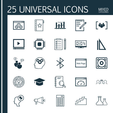 bluetooth: Set Of 25 Universal Icons On Growth, Graduation, Video Player And More Topics. Vector Icon Set Including Bluetooth Symbol, Analysis, Keyword Optimisation And Other Icons. Illustration