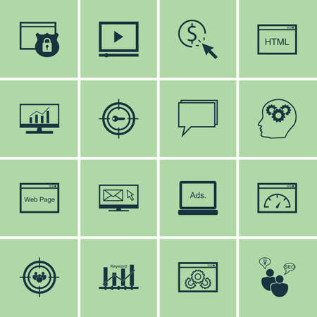 keyword: Set Of 16 Universal Icons On Keyword Marketing, Loading Speed, Website And More Topics. Vector Icon Set Including Keyword Optimisation, Website, SEO Brainstorm And Other Icons. Illustration