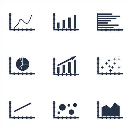 increment: Set Of Graphs, Diagrams And Statistics Icons. Premium Quality Symbol Collection. Icons Can Be Used For Web, App And UI Design. Vector Illustration, EPS10.