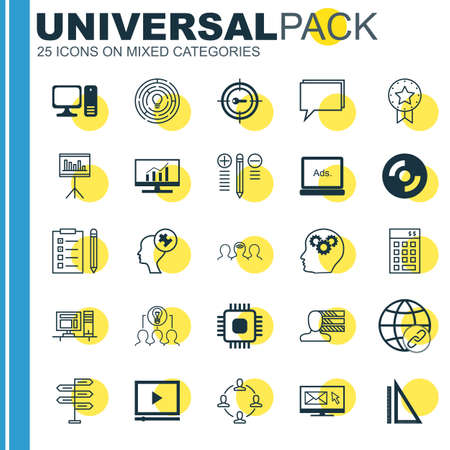 collaborative: Set Of 25 Universal Icons On Personal Skills, Collaborative Solution, Chip And More Topics. Vector Icon Set Including Computer, Present Badge, Coaching And Other Icons.