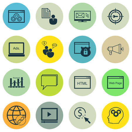 idea icon: Set Of SEO, Marketing And Advertising Icons On Coding, Newsletter, Conference And More. Includes Connectivity, Newsletter, Brain Process And Other Vector Icons.