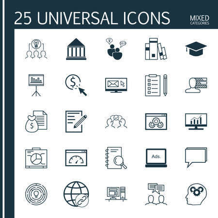 collaborative: Set Of 25 Universal Icons On Conference, Personal Skills, Collaborative Solution And More Topics. Vector Icon Set Including Reminder, Brain Process, Collaborative Solution And Other Icons.