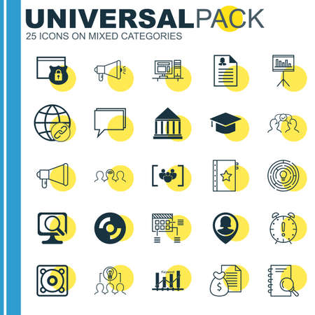 optimisation: Set Of 25 Universal Icons On Female Application, Pin Employee, Coaching And More Topics. Vector Icon Set Including Security, Keyword Optimisation, Time Management And Other Icons.