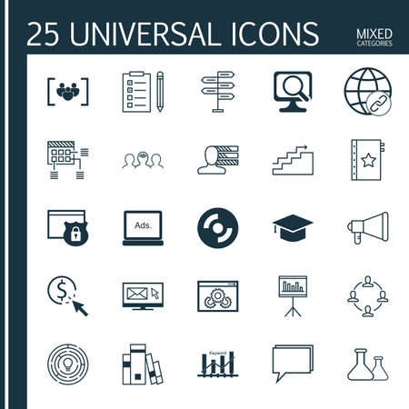 optimisation: Set Of 25 Universal Icons On Warranty, Newsletter, Library And More Topics. Vector Icon Set Including Keyword Optimisation, Opportunity, Connectivity And Other Icons. Illustration
