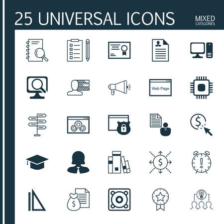 money time: Set Of 25 Universal Icons On Curriculum Vitae, Security, Business Woman And More Topics. Vector Icon Set Including Website, Money, Time Management And Other Icons.