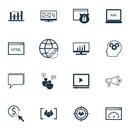 Set Of SEO, Marketing And Advertising Icons On Market Research, Coding, PPC And More. Includes PPC, Security, Newsletter And Other Vector Icons.