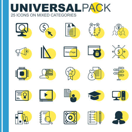cash book: Set Of 25 Universal Icons On Report, Analysis, Music And More Topics. Vector Icon Set Including Certificate, Website, Laptop And Other Icons.