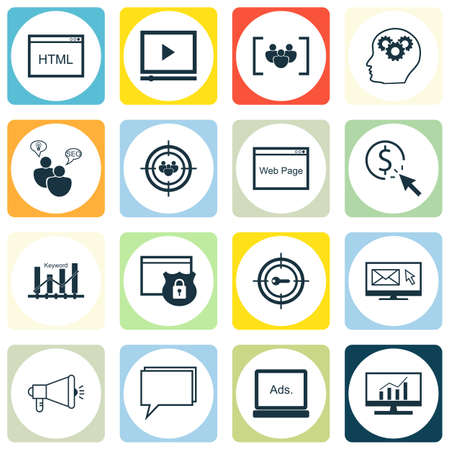optimisation: Set Of SEO, Marketing And Advertising Icons On Website, Digital Media, Newsletter And More. Includes Keyword Marketing, Focus Group, Keyword Optimisation And Other Vector Icons.
