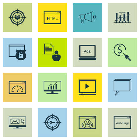 keyword: Set Of 16 Universal Icons On Website Performance, Website, Loading Speed And More Topics. Vector Icon Set Including Keyword Optimisation, Keyword Marketing, Conference And Other Icons. Illustration