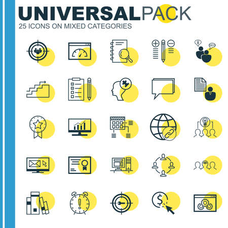 collaborative: Set Of 25 Universal Icons On Reminder, Collaborative Solution, Library And More Topics. Vector Icon Set Including Decision Making, Coaching, PPC And Other Icons.