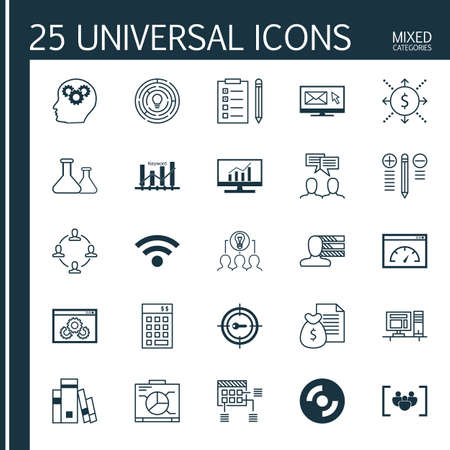 cash book: Set Of 25 Universal Icons On Personal Skills, Questionnaire, Blank Cd And More Topics. Vector Icon Set Including Library, Collaborative Solution, Schedule And Other Icons.