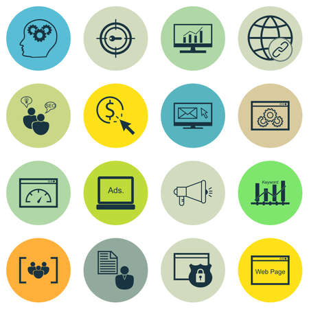 keyword: Set Of 16 Universal Icons On Media Campaign, Keyword Optimisation, Website And More Topics. Vector Icon Set Including Media Campaign, Keyword Marketing, Brain Process And Other Icons. Illustration