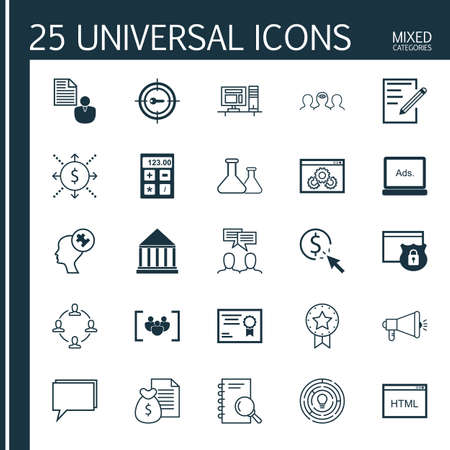 display problem: Set Of 25 Universal Icons On Coaching, Questionnaire, Computer And More Topics. Vector Icon Set Including Digital Media, Paper, Media Campaign And Other Icons. Illustration
