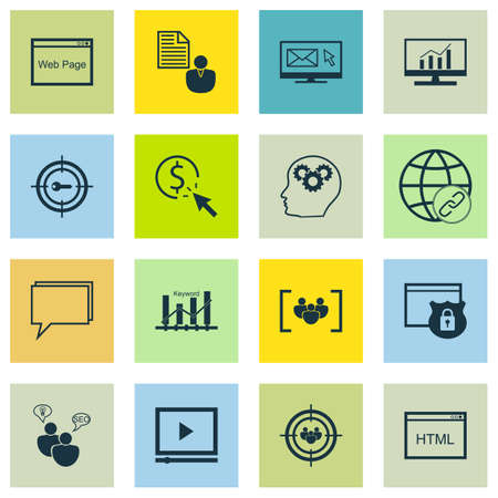 keyword: Set Of SEO, Marketing And Advertising Icons On Keyword Marketing, Market Research, Brain Process And More. Includes Website, Questionnaire, Keyword Marketing And Other Vector Icons. Illustration