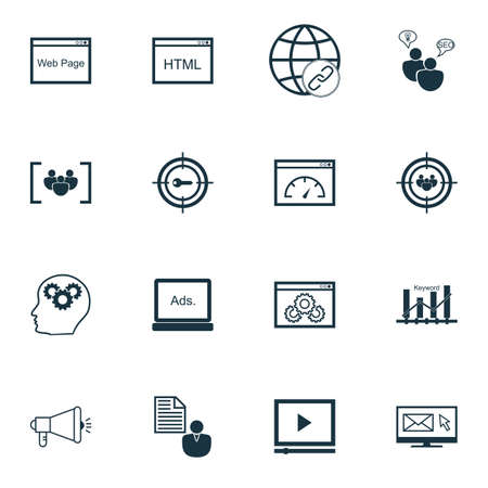keyword: Set Of SEO, Marketing And Advertising Icons On Loading Speed, Focus Group, Keyword Marketing And More. Includes Newsletter, Keyword Optimisation, Keyword Marketing And Other Vector Icons.