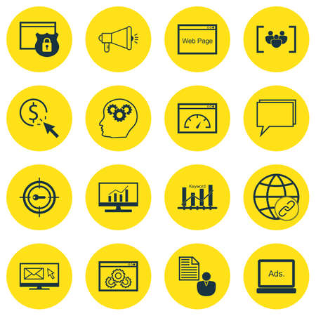 keyword: Set Of SEO, Marketing And Advertising Icons On Brain Process, Questionnaire, Keyword Marketing And More. Includes Keyword Marketing, PPC, Market Research And Other Vector Icons.