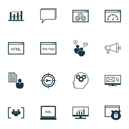 keyword: Set Of SEO, Marketing And Advertising Icons On Keyword Marketing, Report, Security And More. Includes Keyword Marketing, Keyword Optimisation, Brain Process And Other Vector Icons.