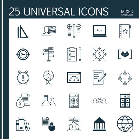 digital media: Set Of 25 Universal Icons On Digital Media, Time Management, Measurement And More Topics. Vector Icon Set Including Connectivity, Paper, Financial And Other Icons.