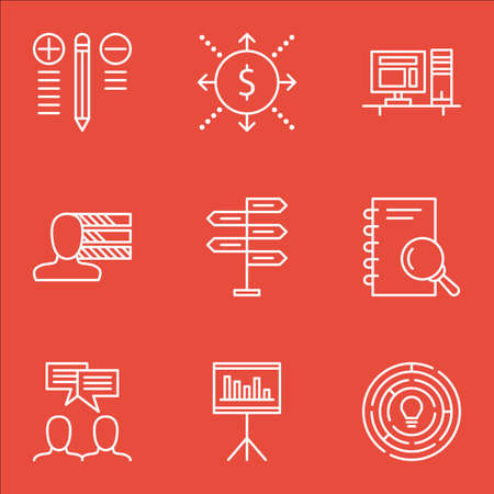more money: Set Of Project Management Icons On Discussion, Money, Personal Skills And More. Includes Computer, Innovation, Presentation And Other Vector Icons.