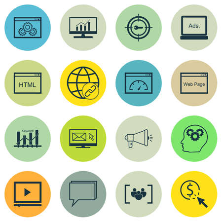 keyword: Set Of SEO, Marketing And Advertising Icons On Digital Media, Keyword Optimisation, Coding And More. Includes Loading Speed, Keyword Marketing, Market Research And Other Vector Icons.
