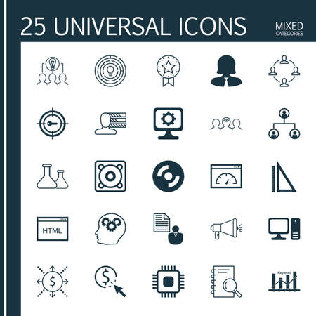 collaborative: Set Of 25 Universal Icons On Blank Cd, Personal Skills, Computer And More Topics. Vector Icon Set Including Money, Analysis, Collaborative Solution And Other Icons.