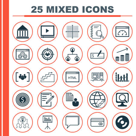 dynamic html: Set Of 25 Universal Icons On Graphical Grid, Blank Cd, Video Player And More Topics. Vector Icon Set Including Questionnaire, Coding, Video Player And Other Icons. Illustration
