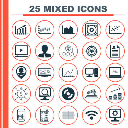 profit graph: Set Of 25 Universal Icons On Female Application, Wireless, Focus Group And More Topics. Vector Icon Set Including Female Application, Focus Group, Profit Graph And Other Icons. Illustration