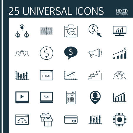 dynamic html: Set Of 25 Universal Icons On Video Player, Analytics, Cooperation And More Topics. Vector Icon Set Including Coding, Market Research, Digital Media And Other Icons.