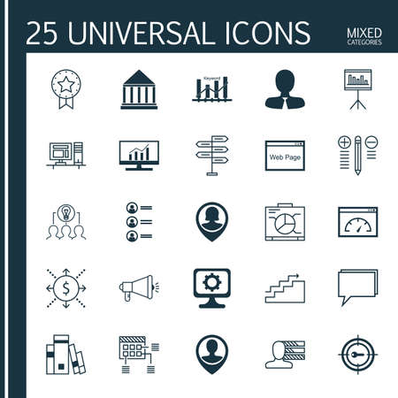 collaborative: Set Of 25 Universal Icons On Loading Speed, Keyword Optimisation, Collaborative Solution And More Topics. Vector Icon Set Including Presentation, Board, Decision Making And Other Icons.