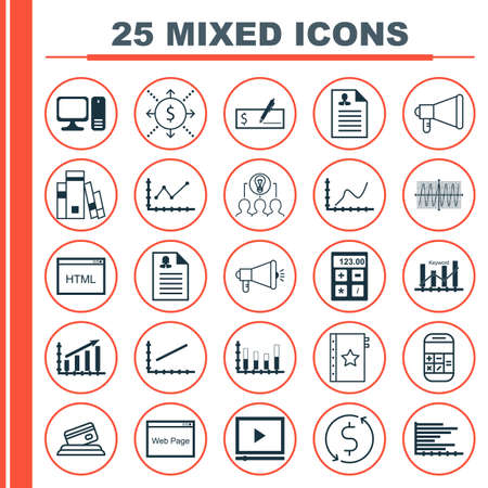 cosinus: Set Of 25 Universal Icons On Library, Video Player, Cosinus Diagram And More Topics. Vector Icon Set Including Announcement, Money, Keyword Optimisation And Other Icons.