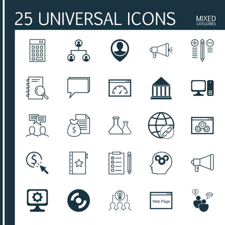 collaborative: Set Of 25 Universal Icons On Warranty, Connectivity, Report And More Topics. Vector Icon Set Including Connectivity, Report, Collaborative Solution And Other Icons.
