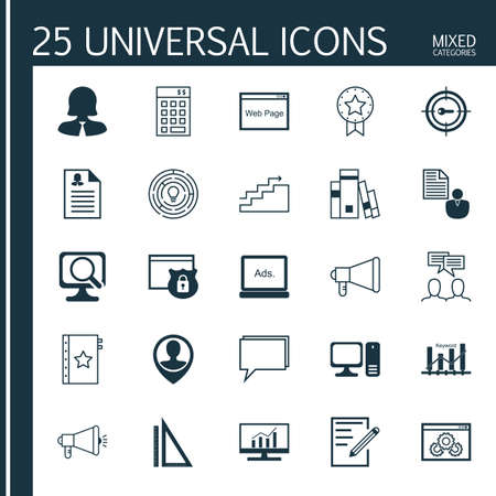 optimisation: Set Of 25 Universal Icons On Investment, Employee Location, Warranty And More Topics. Vector Icon Set Including Keyword Optimisation, Female Application, Growth And Other Icons. Illustration