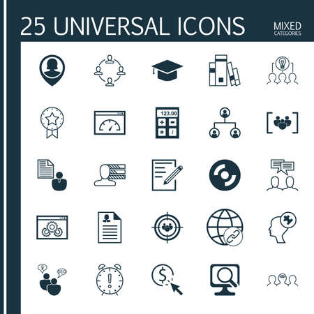 collaborative: Set Of 25 Universal Icons On Website Performance, Library, Coaching And More Topics. Vector Icon Set Including Connectivity, Pin Employee, Collaborative Solution And Other Icons.