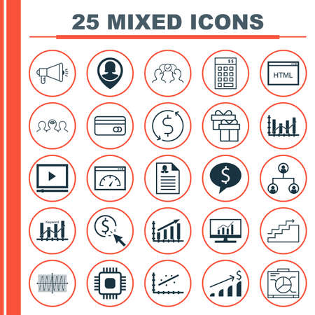 Set Of 25 Universal Icons On Tree Structure, Analytics, Keyword Optimisation And More Topics. Vector Icon Set Including Successful Investment, Cosinus Diagram, Coding And Other Icons.