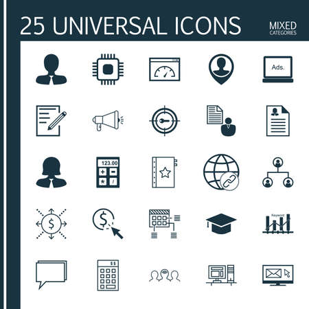 keyword: Set Of 25 Universal Icons On Keyword Optimisation, Money, Chip And More Topics. Vector Icon Set Including Newsletter, Keyword Optimisation, Tree Structure And Other Icons.