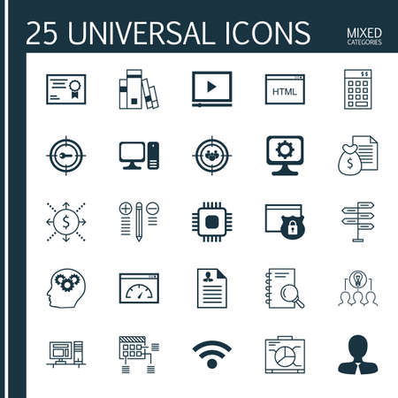 cash book: Set Of 25 Universal Icons On Loading Speed, Certificate, Computer And More Topics. Vector Icon Set Including Coding, Money, Focus Group And Other Icons.