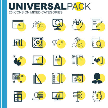 collaborative: Set Of 25 Universal Icons On Personal Skills, Brain Process, Collaborative Solution And More Topics. Vector Icon Set Including Measurement, Decision Making, Opportunity And Other Icons.