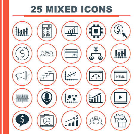 dynamic html: Set Of 25 Universal Icons On Market Research, Cosinus Diagram, Chip And More Topics. Vector Icon Set Including PPC, Raise Diagram, Pin Employee And Other Icons.