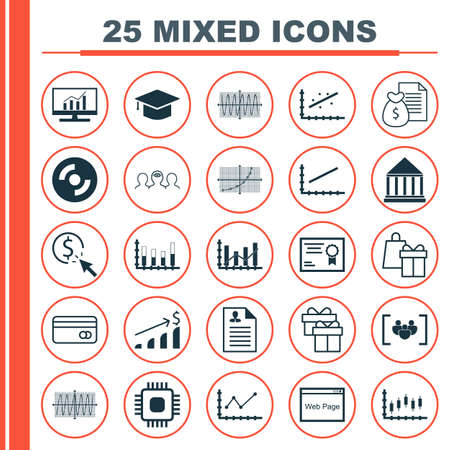 line up: Set Of 25 Universal Icons On Graduation, Market Research, Coaching And More Topics. Vector Icon Set Including Line Up, Present, Graduation And Other Icons. Illustration