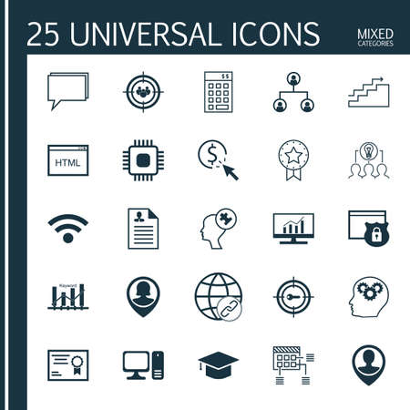 collaborative: Set Of 25 Universal Icons On Pin Employee, Collaborative Solution, Focus Group And More Topics. Vector Icon Set Including Graduation, Human Mind, Focus Group And Other Icons.