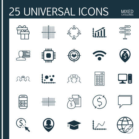 profit graph: Set Of 25 Universal Icons On Pin Employee, Profit Graph, Money Navigation And More Topics. Vector Icon Set Including PPC, Money Trasnfer, Focus Group And Other Icons.