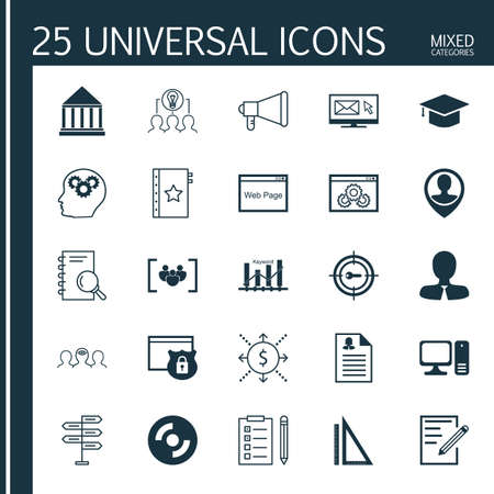 keyword: Set Of 25 Universal Icons On Keyword Marketing, Reminder, Graduation And More Topics. Vector Icon Set Including Website Performance, Keyword Marketing, Measurement And Other Icons.