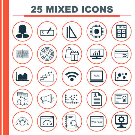 sinus: Set Of 25 Universal Icons On Measurement, Sinus Graph, Curriculum Vitae And More Topics. Vector Icon Set Including Website, Shopping, Business Woman And Other Icons.