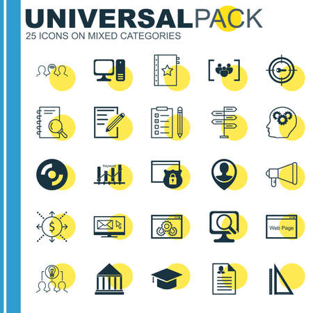keyword: Set Of 25 Universal Icons On Keyword Marketing, Keyword Optimisation, Security And More Topics. Vector Icon Set Including Coaching, Website Performance, Female Application And Other Icons.